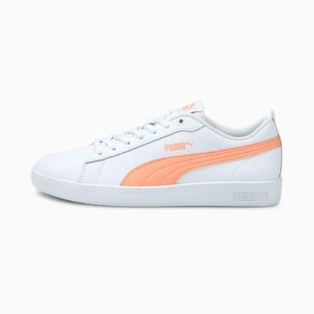 Smash v2 Leder Damen Sneaker, Puma White-Apricot Blush-Puma Black, small