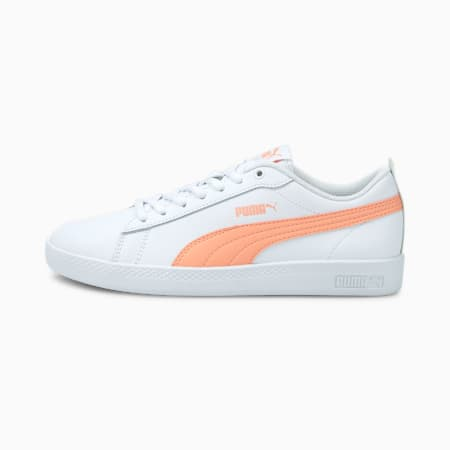 Smash v2 Leather Women's Sneakers, White-Apricot Blush-Black, small-IND