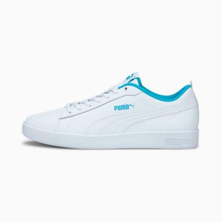 Smash v2 Leder Damen Sneaker, Puma White-Puma White-Scuba Blue, small