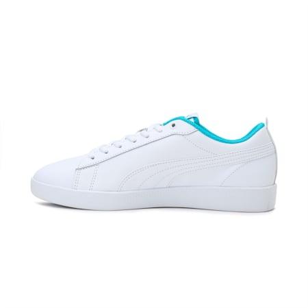 Smash v2 Leather Women's Sneakers, White-Puma White-Scuba Blue, small-IND