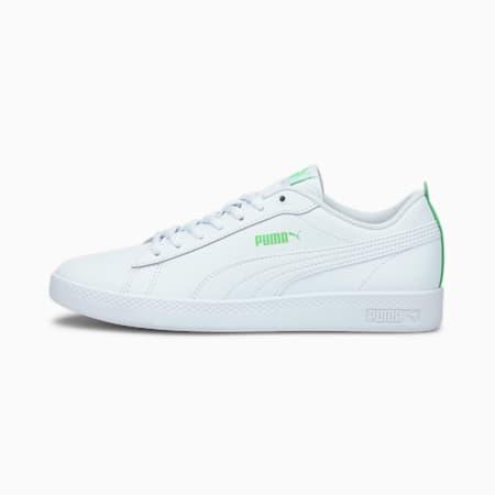 Zapatos deportivos de cuero Smash v2 para mujer, Blanco-Blanco-Summer Green, pequeño
