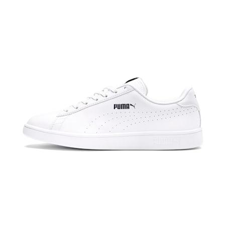 PUMA Smash v2 L Perforated Unisex Shoes, Puma White-Puma White, small-IND