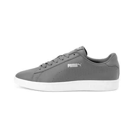 PUMA Smash v2 L Perforated Unisex Shoes, CASTLEROCK-Puma Silver-White, small-IND