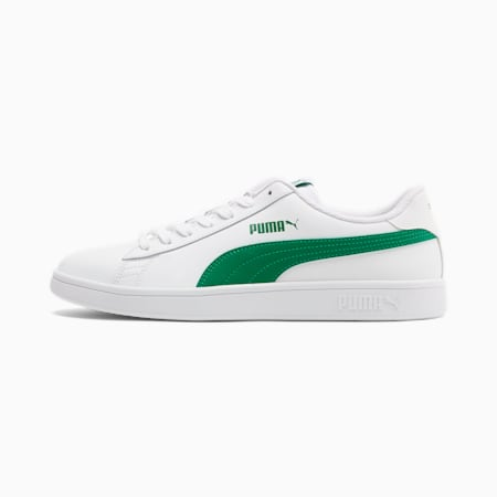 Smash v2 Leather Trainers, Puma White-Amazon Green, small-GBR
