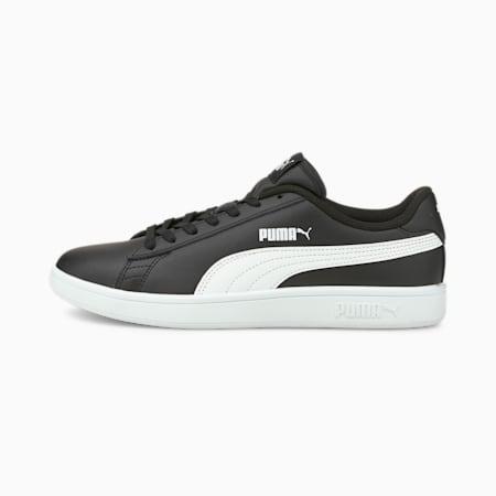 Scarpe da ginnastica in pelle Smash v2, Puma Black-Puma White, small