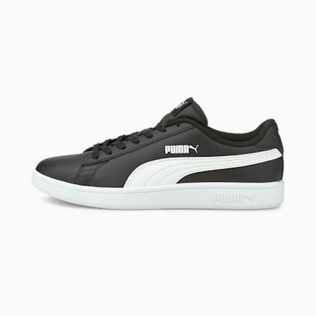Smash v2 Leather Trainers, Puma Black-Puma White, small