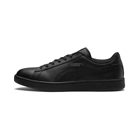Smash v2 Leather Trainers, Puma Black-Puma Black, small