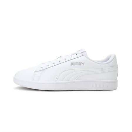 Smash v2 Leather Trainers, Puma White-Puma White, small-GBR