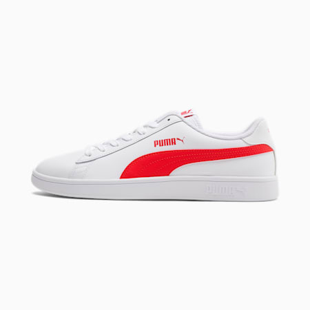 Smash v2 Leather Trainers, Puma White-High Risk Red-Gray Violet, small-GBR