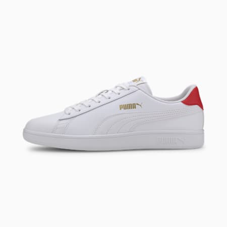 Smash v2 Leather Trainers, White-High Risk Red-Gold, small