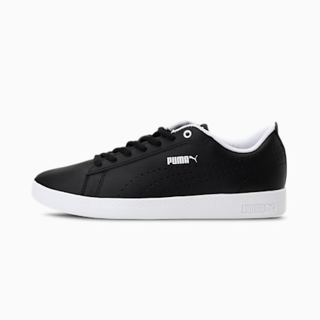 Smash Perf Leather Women's Sneakers, Puma Black-Puma Black, small-IND