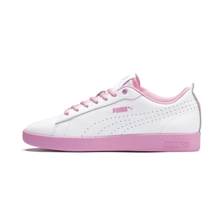 Smash Perf Leather Women's Sneakers, Puma White-Pale Pink, small-IND