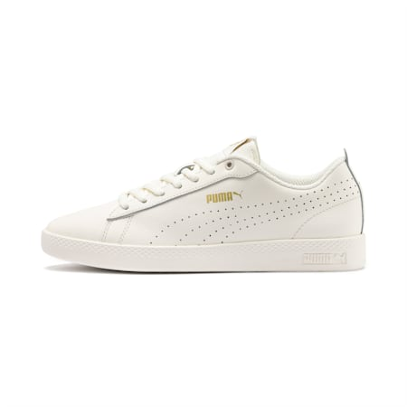 Smash Perf Leather Women's Sneakers, Whisper White-Puma Team Gold, small-IND