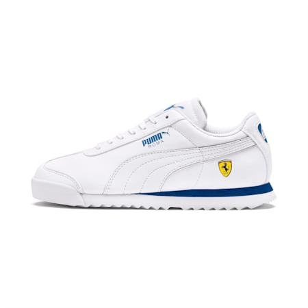 Ferrari Roma Youth Shoes, White-White-Galaxy Blue, small-IND