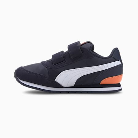 ST Runner v2 Little Kids' Shoes, Peacoat-Puma White-Firecrack, small
