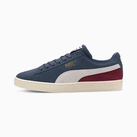 Suede Classic Men's Sneakers, Dark Denim- White-Cordovan, small