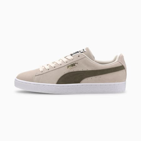 Suede Classic Men's Sneakers, Whisper White-Burnt Olive, small