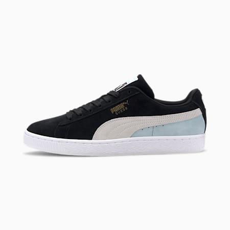 Suede Classic Men's Sneakers, Black-White-Aquamarine, small