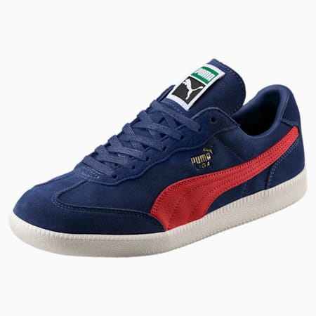 Liga Suede Shoes, Blue Indigo-Flame Scarlet, small-IND