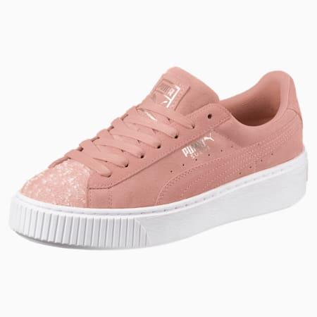 Suede Platform Pebble Women's Shoes, Peach Beige-Puma White, small-IND