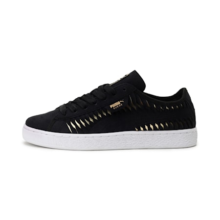 Suede Metallic Entwine Women's Shoes, Puma Black-Puma Team Gold, small-IND