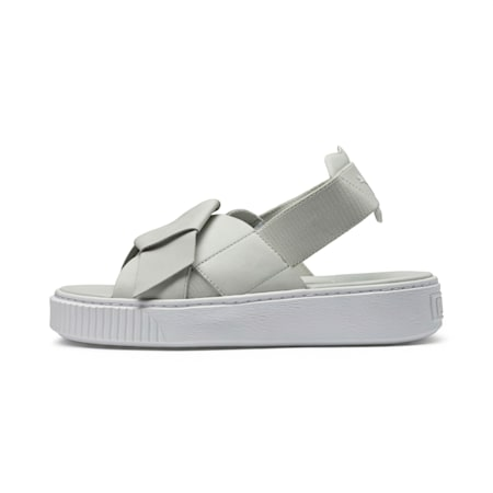Platform Leather Women's Sandals, Glacier Gray-Glacier Gray, small-IND