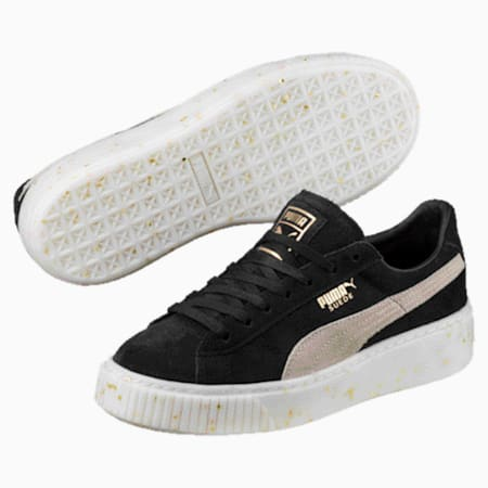 Suede Platform Celebrate Women's Sneakers, Puma Black-Puma White-Gold, small
