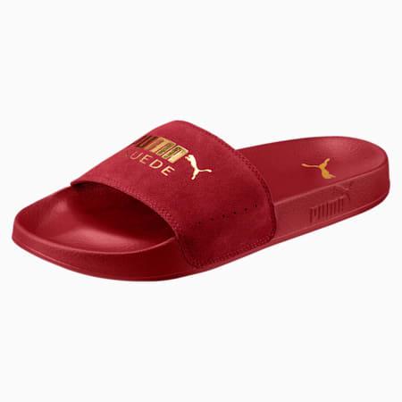 Leadcat Suede Men's Slides, Red Dahlia-Puma Team Gold, small