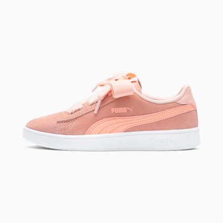 Smash v2 Ribbon AC Kid Girls' Trainers, Peach Bud-Bright Peach-White, small