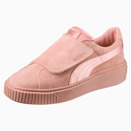 Platform Strap Satin  En Pointe Women's Trainers, Peach Beige-Peach Beige-Rose, small-SEA