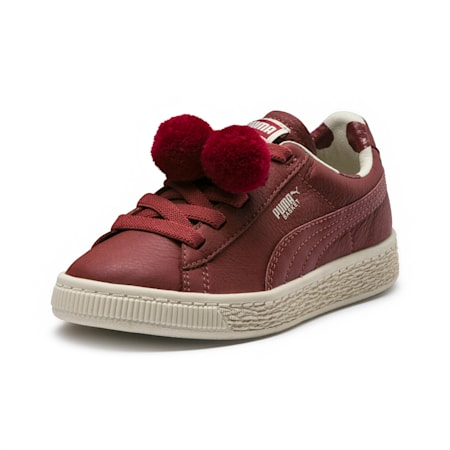 PUMA x tinycottons Basket Pompom Little Kids' Shoes, Russet Brown-Birch, small
