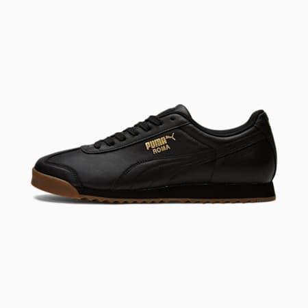 Zapatos deportivos Roma Classic Gum para hombre, Puma Black-Puma Team Gold, pequeño