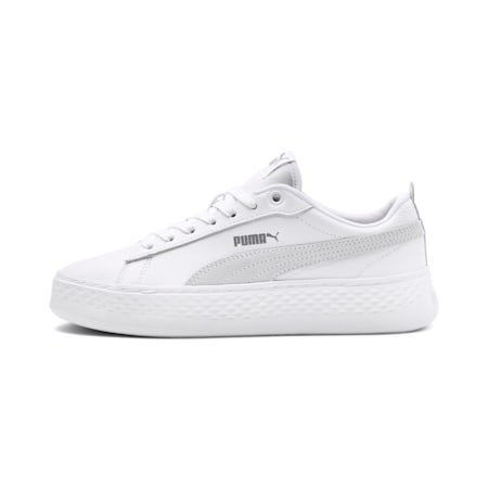 Smash Platform Leather Women's Sneakers, Puma White-Puma White-White, small