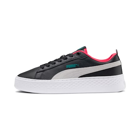PUMA Smash Platform SoftFoam Women's Sneakers, Black-White-T Green-C Coral, small-IND
