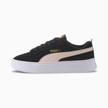 PUMA Smash Platform Suede Women's Sneakers, Black-Rosewater-Gold-White, small