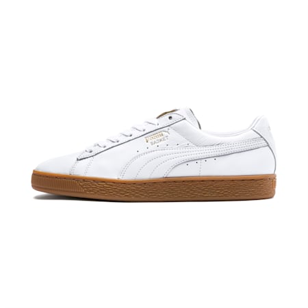 Basket Classic Gum Deluxe Shoes, Puma White-Metallic Gold, small-IND