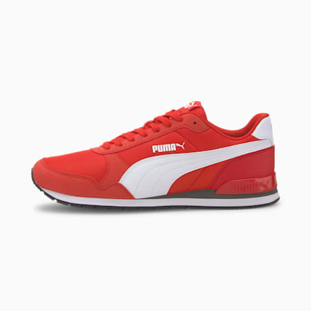Zapatos deportivos de malla ST Runner v2 para hombre, High Risk Red-Puma White, pequeño