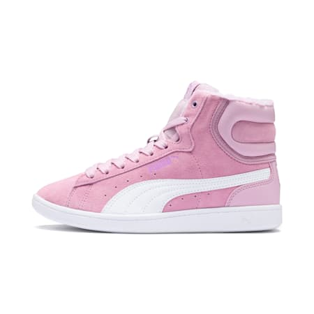 Vikky Mid Fur Girls' High Tops Preschool, Winsome Orchid-Puma White, small