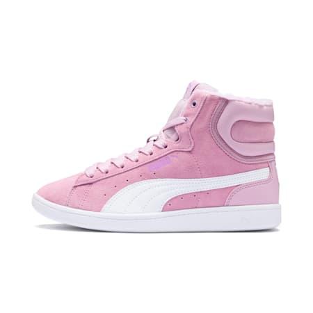 Sneakers alte per asilo Vikky Mid Fur bambina, Winsome Orchid-Puma White, small