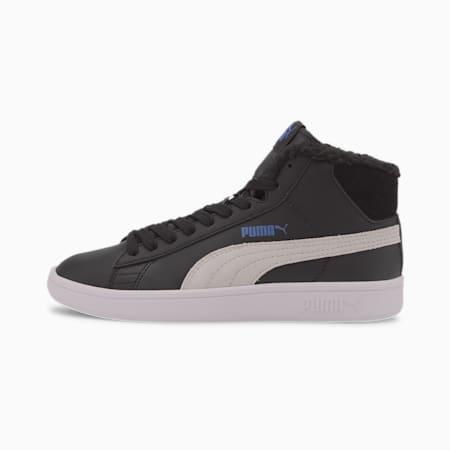 Młodzieżowe buty sportowe Smash V2 Mid Fur, Puma Black-Puma White, small