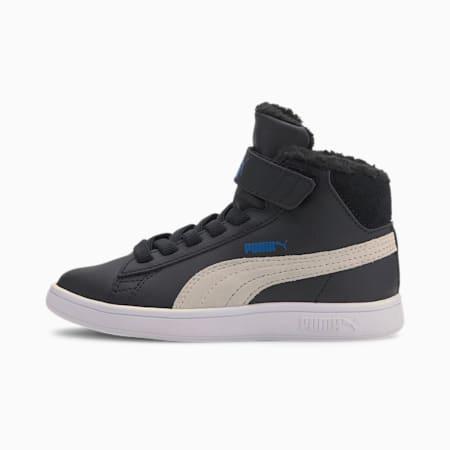 Zapatillas Smash V2 Mid Fur V para niño, Puma Black-Puma White, small