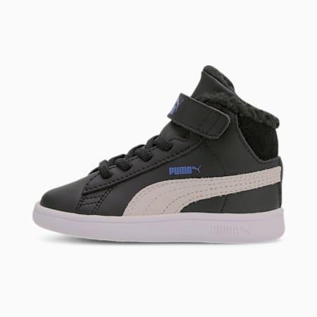 Smash v2 Mid Fur V Babies Sneaker, Puma Black-Puma White, small