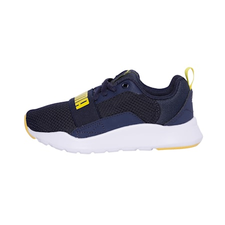PUMA Wired SoftFoam+ Kids' Shoes, Peacoat-Blazing Yellow, small-IND