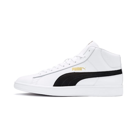 Smash v2 Mid-Cut Trainers, White-Black-Gold-High Rise, small