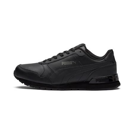 ST Runner v2 Leather Sneakers JR, Puma Black-Dark Shadow, small