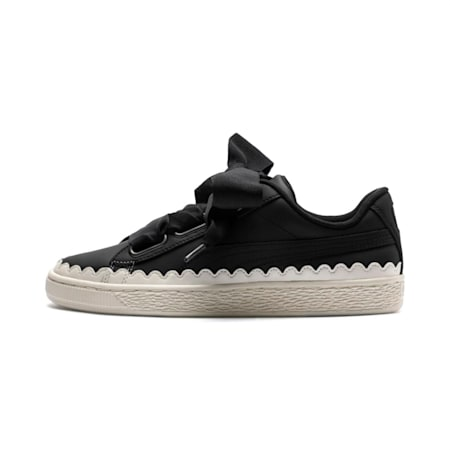 Basket Heart Scallop Women's Shoes, Puma Black-Puma Black, small-IND