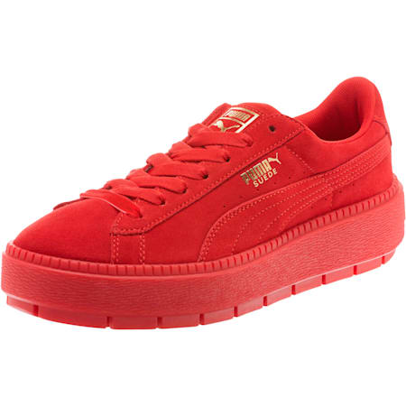 Suede Platform Trace Valentine's Day Women's Sneakers, Red Dahlia-Barbados Cherry, small
