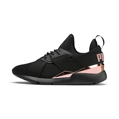 Muse Metal Women's Sneakers, Puma Black-Rose Gold, small