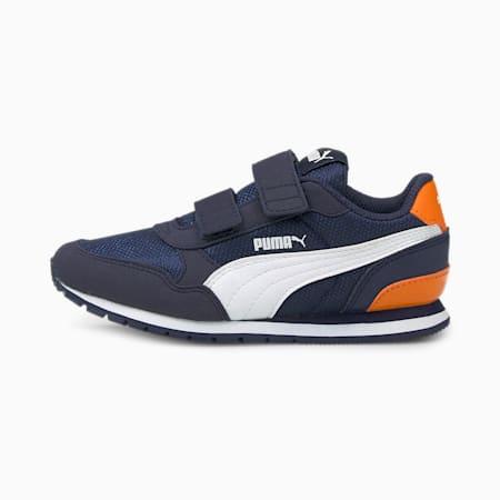 ST Runner v2 Mesh AC Little Kids' Shoes, Peacoat-White-Vibrant Orange, small-IND
