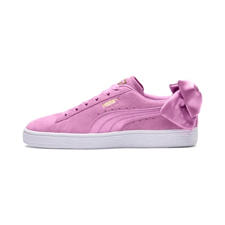 Suede Bow Girls' Shoes, Orchid-Orchid, small-IND